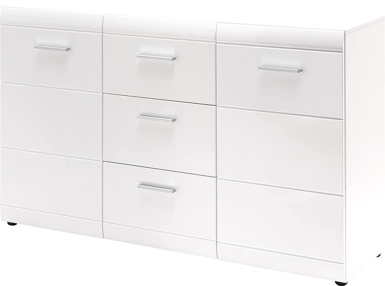 Sideboard 'GW-ADANA', mit 2 Türen und 2 Schubläden, Weiß Hochglanz, ca. 144x86x39cm Bild 1