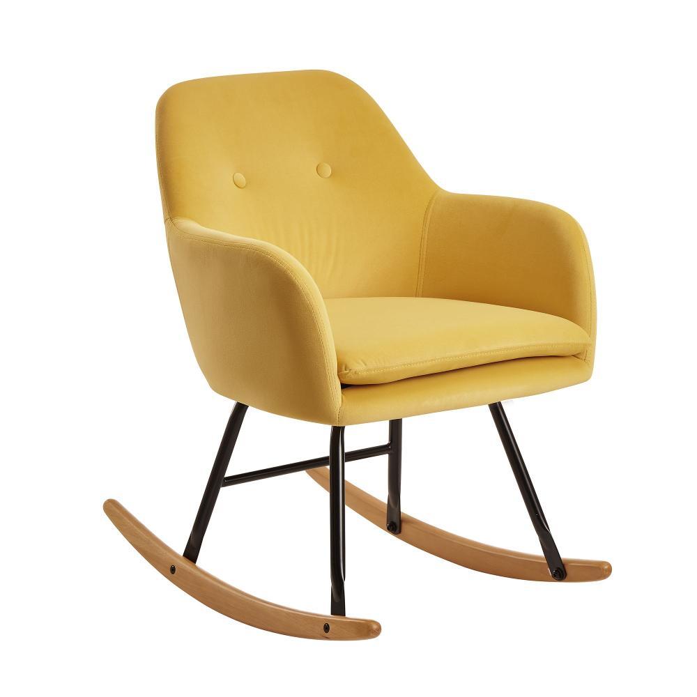 Schaukelstuhl, Schwingsessel, gelb Samt / Holz, 71x76x70 cm Bild 1