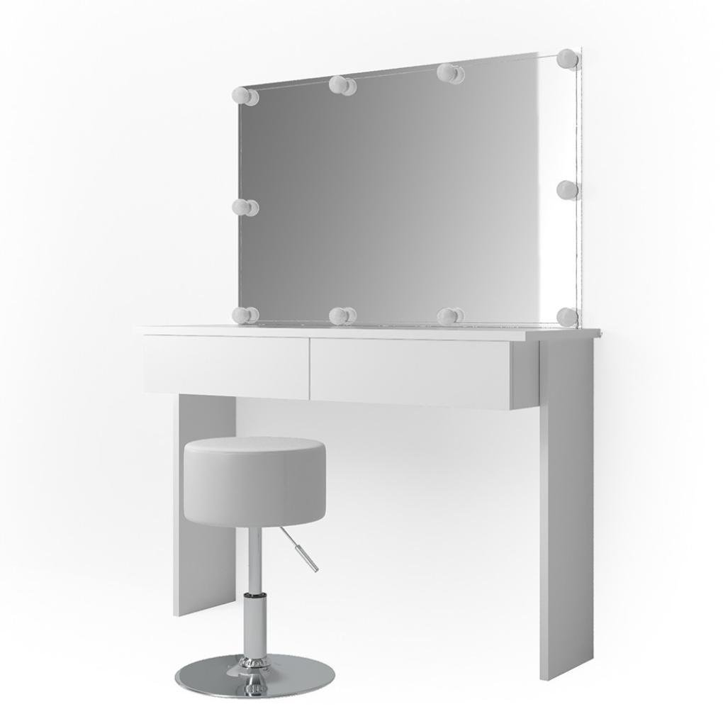 Vicco 'Azur' Schminktisch, Weiß Hochglanz, inkl. Hocker, Spiegel und LED-Lichterkette Bild 1