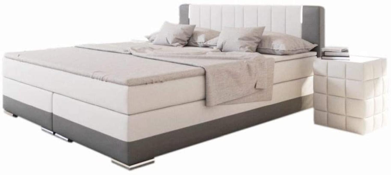 SalesFever Bett Boxspringbett 200 x 200 cm LED weiß/grau Kunstleder Holz Bild 1