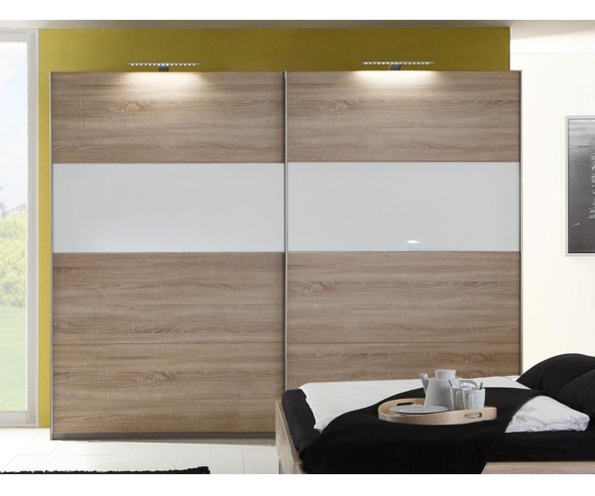 Wimex 'Easy Plus' Kleiderschrank, Schwebetürenschrank, Eiche Sägerau Dekor/Echtglas weiss, inkl. Glasauflage, ca. 225 cm Bild 1
