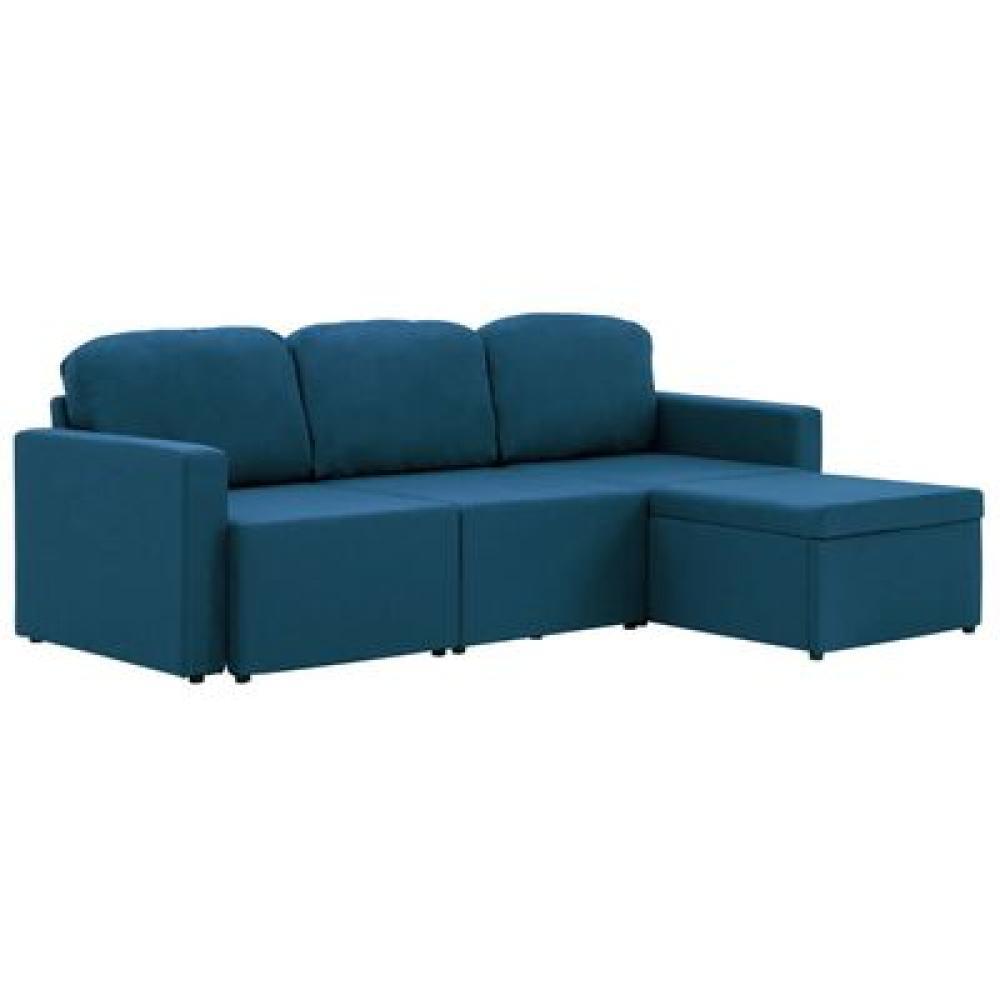 vidaXL Modulares 3-Sitzer-Schlafsofa Blau Stoff Bild 1