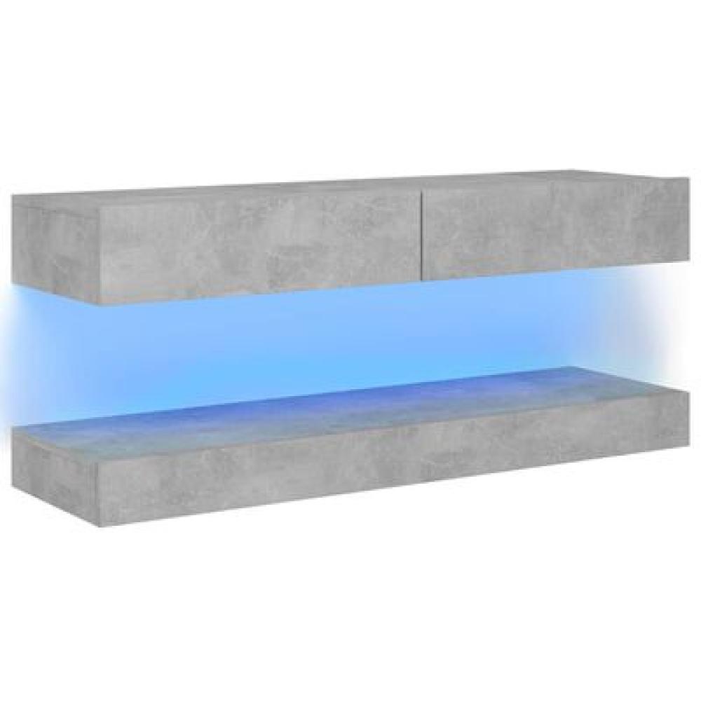 TV-Schrank mit LED-Leuchten Betongrau 120x35 cm Bild 1