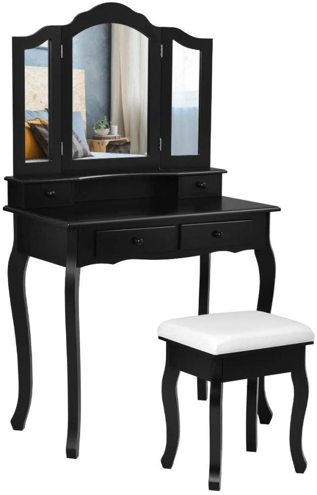 COSTWAY Schminktisch, schwarz mit Hocker, 3-teiligem klappbarem Spiegel, 4 Schubladen und abnehmbarem Oberteil Bild 1