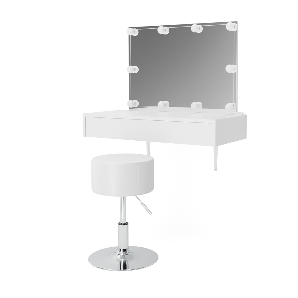 Vicco 'Alessia' Schminktisch, Weiß, inkl. Hocker und LED-Lichterkette Bild 1