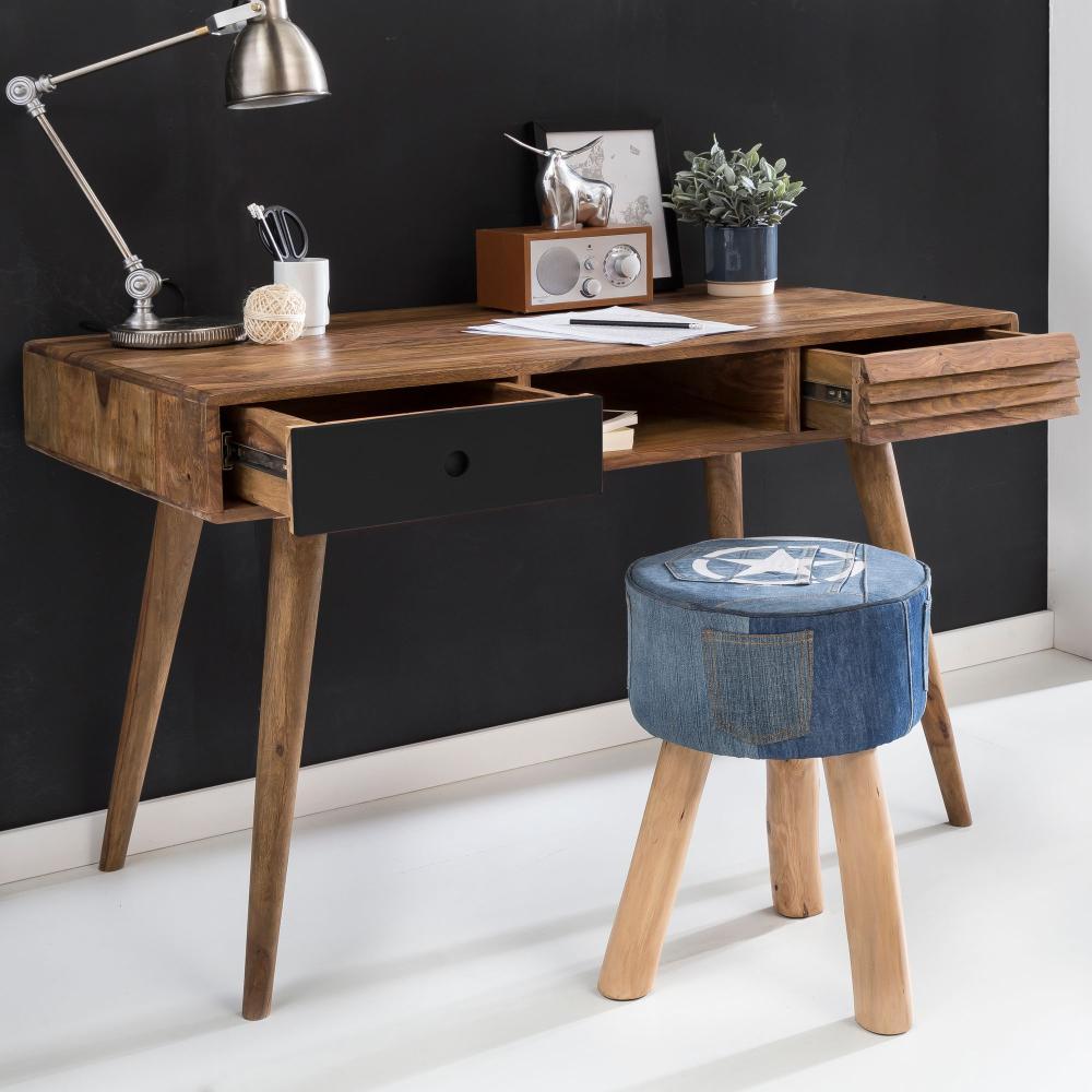 Design Retro Schreibtisch Sheesham Massivholz 120 x 60 x 75 cm mit 2 Schubladen & Ablage Holzbeine Bild 1