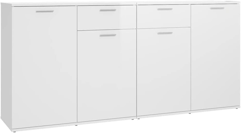 Sideboard Hochglanz-Weiß 160x36x75 cm Spanplatte Bild 1