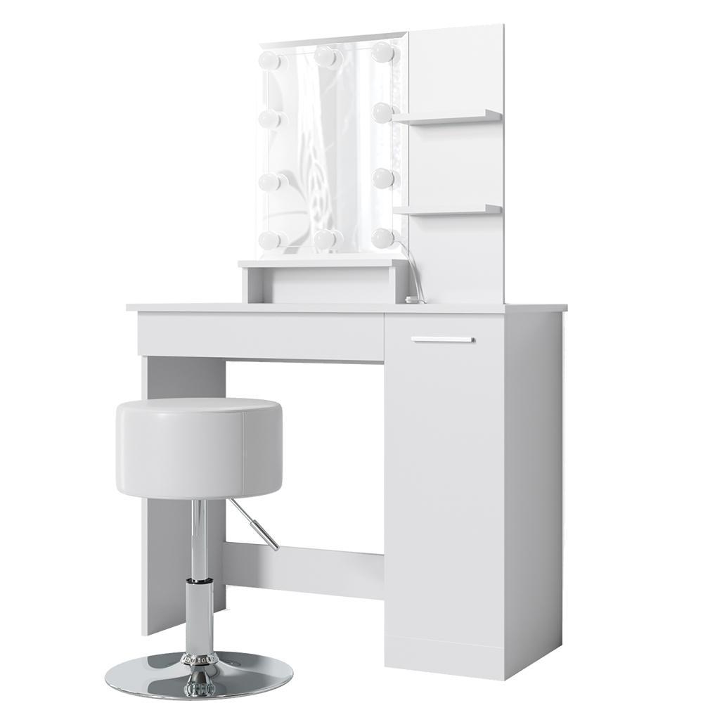 Vicco 'Julia' Schminktisch, Weiß, inkl. Hocker und LED-Lichterkette, mit Spiegel Bild 1