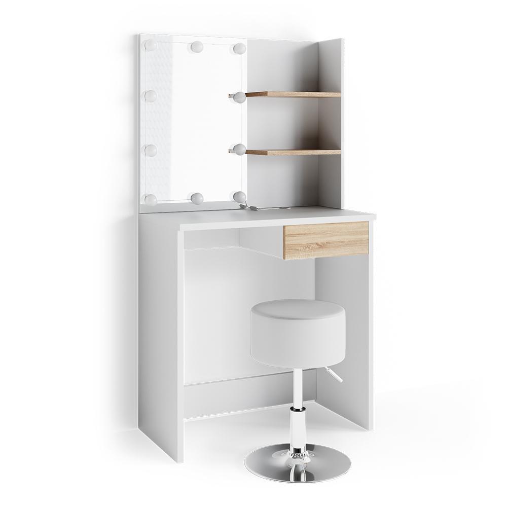 Vicco 'Dekos' Schminktisch, Weiß/Eiche, inkl. Hocker und LED-Lichterkette, mit Spiegel Bild 1
