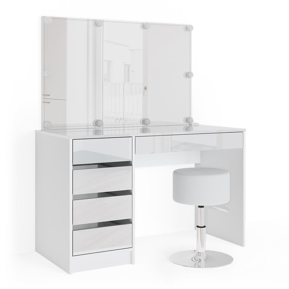 Vicco 'Sherry' Schminktisch, weiß, inkl. Hocker und LED-Beleuchtung, mit Spiegel und 5 Schubladen Bild 1