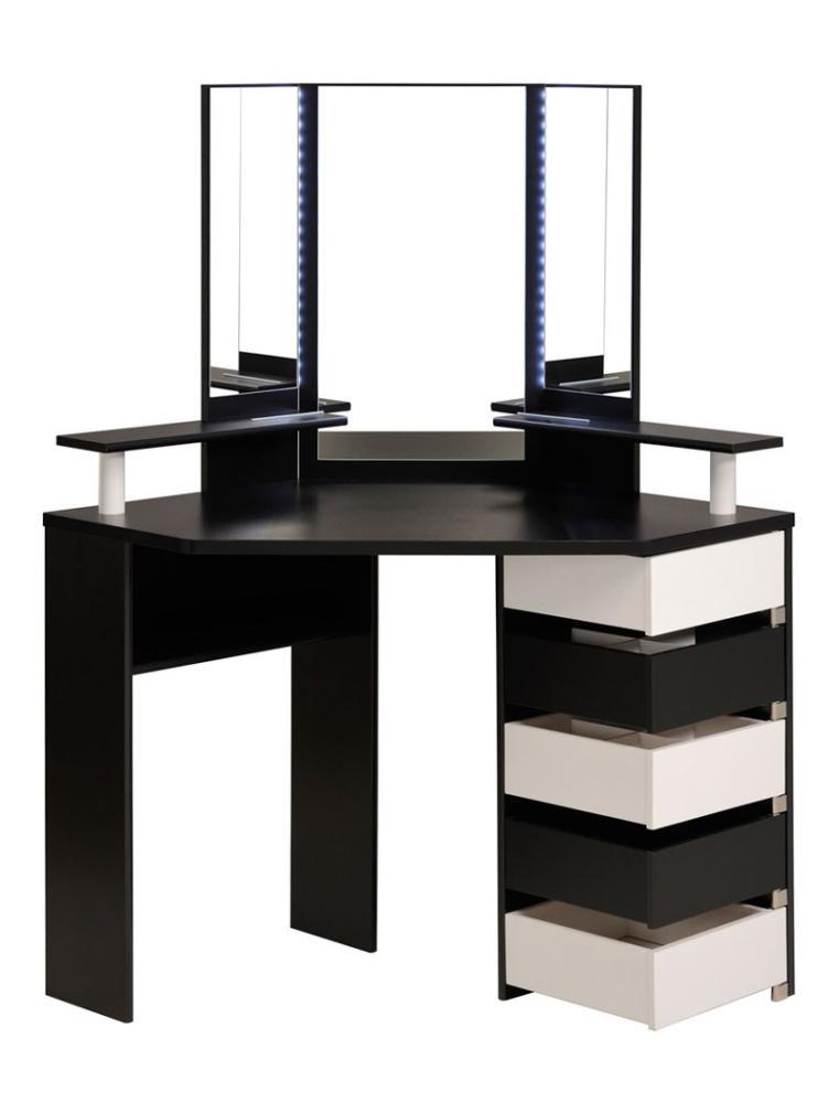 Parisot 'Volage' Eck-Schminktisch, schwarz/weiß inklusive LED Beleuchtung & Hocker Bild 1