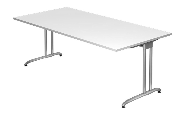 'BS2E' Schreibtisch C-Gestell 200x100cm Weiß Bild 1