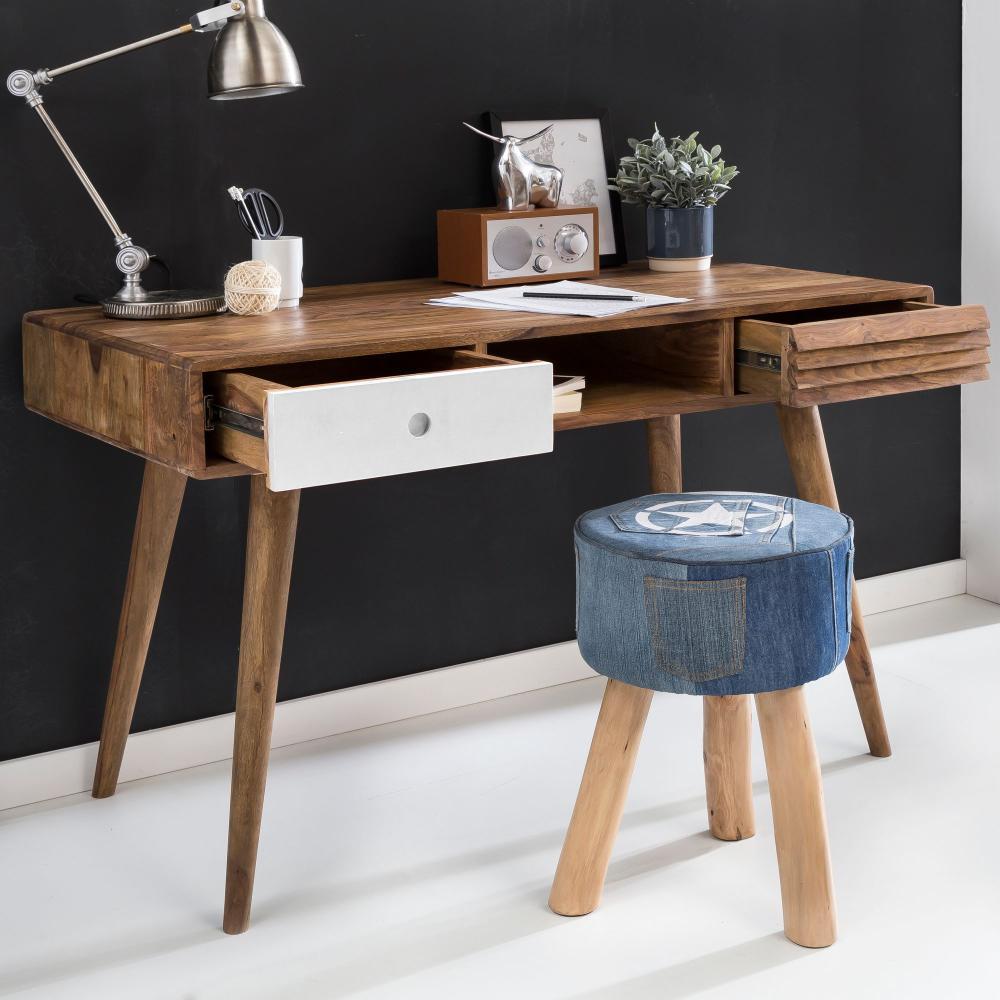 Design Retro Schreibtisch Sheesham Massivholz 120 x 60 x 75 cm mit 2 Schubladen & Ablage Bild 1