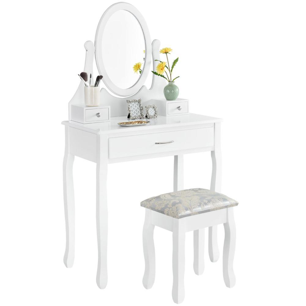 Juskys Schminktisch Lena mit Spiegel, Hocker und 3 Schubladen – weiß – Kosmetiktisch aus MDF Holz – Frisiertisch für Damen, Kinder & Mädchen Bild 1