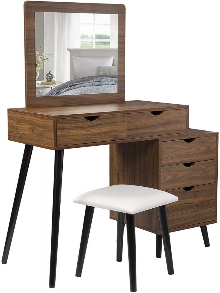 Woltu Schminktisch-Set Dunkelbuche mit 2 Schubladen, Spiegel & Nachttisch Bild 1