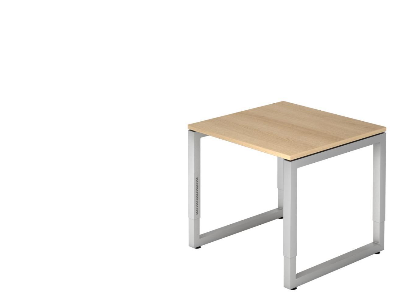 Schreibtisch RS08 O-Fuß eckig 80x80cm Eiche Gestellfarbe: Silber Bild 1