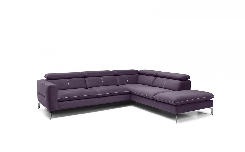 Ecksofa Sofa REZA Polyesterstoff Violett Ottomane Rechts Bild 1