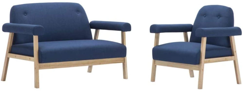 Sofagarnitur für 3 Personen 2-tlg. Stoff Blau Bild 1