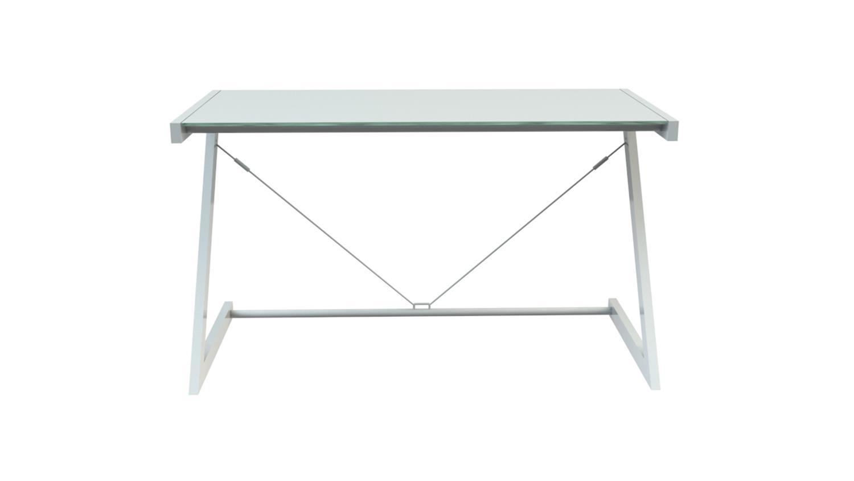 Schreibtisch 100 Z-Line TV-Rack weiß Sicherheitsglas Optiwhite Bild 1