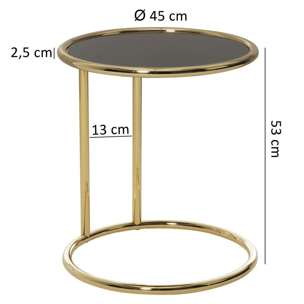 Design Couchtisch, Glas ø 45cm schwarz/gold Bild 1