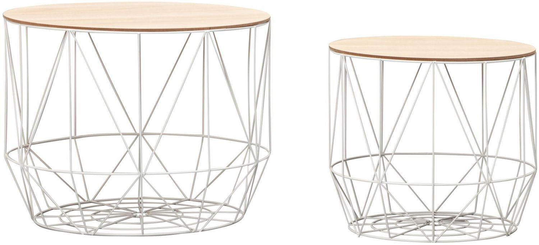 Design Beistelltisch mit Körben 2er Set, weiß Bild 1