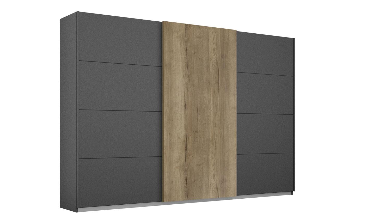 Rauch 'HALIFAX' Schwebetürenschrank 3-trg. grau-metallic Eiche 271 cm Bild 1