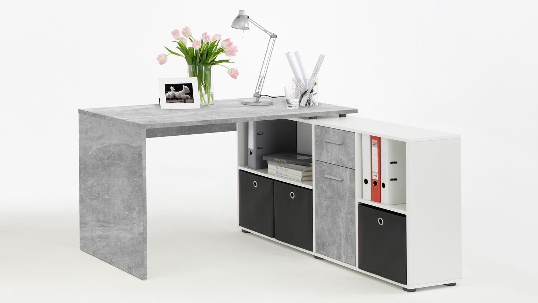 Schreibtisch 'LEXX' Beton-Optik/weiß Bild 1