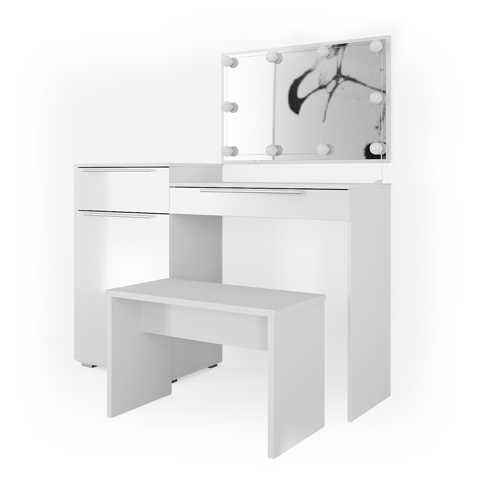 Vicco 'Little Lilli' Schminktisch, Weiß, inkl. Bank und LED-Lichterkette, mit Spiegel Bild 1