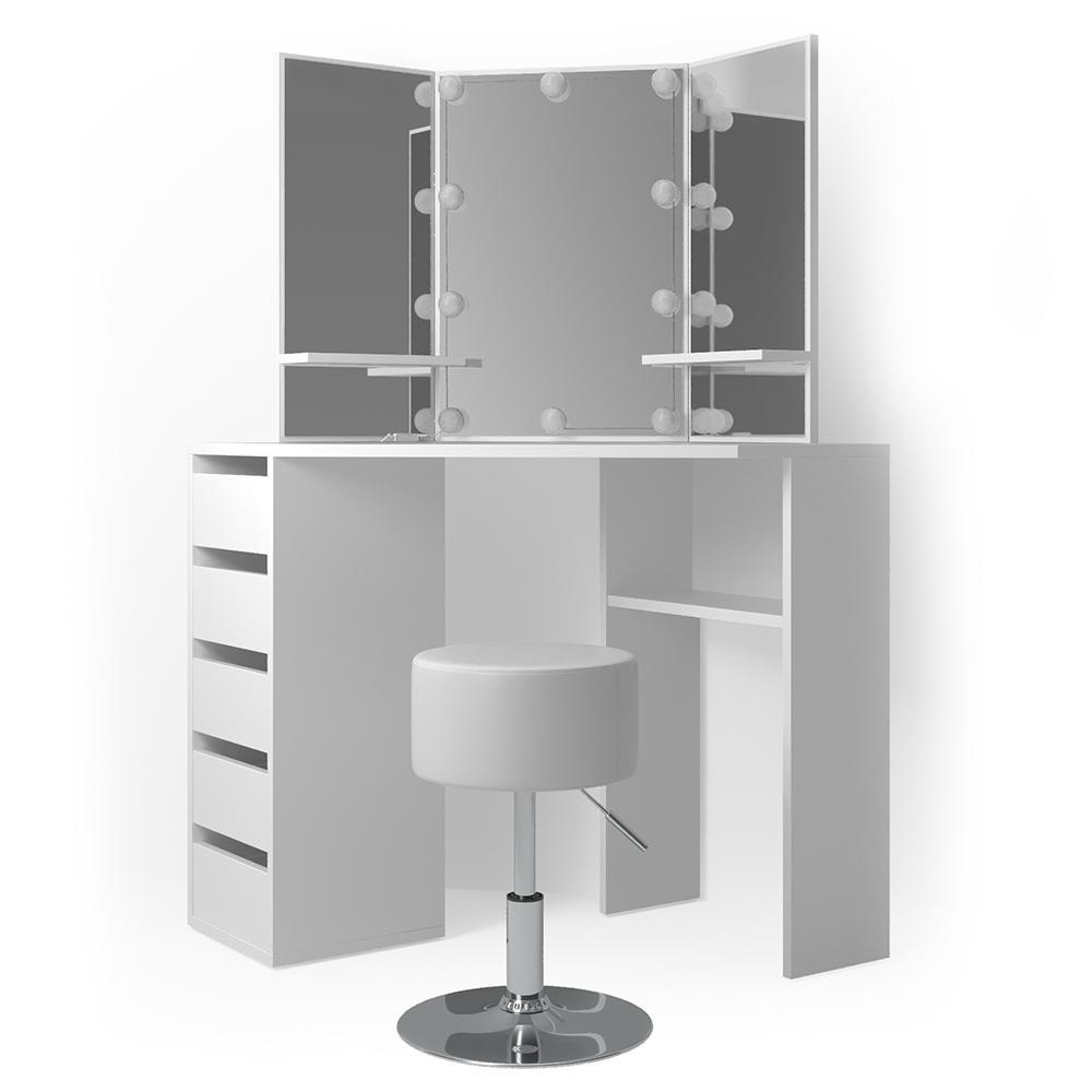 Vicco 'Arielle' Eckschminktisch, Weiß, inkl. Hocker und LED-Lichterkette Bild 1