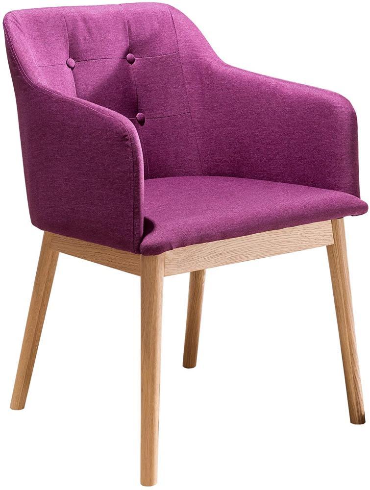 SalesFever Stuhl Esszimmerstuhl lila Holz, Strukturstoff L = 55 x B = 48 x H = 80 lila Bild 1