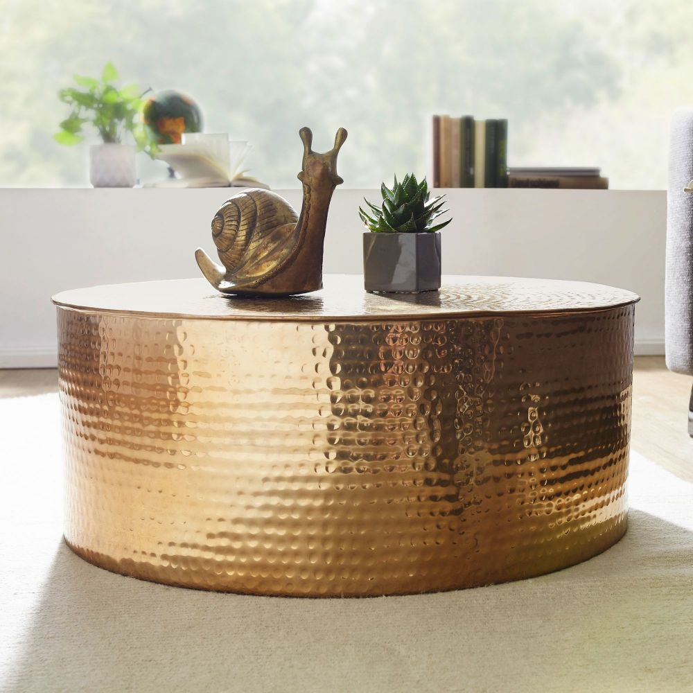 Couchtisch RAHIM 75 x 31 x 75 cm Aluminium Beistelltisch orientalisch rund Bild 1