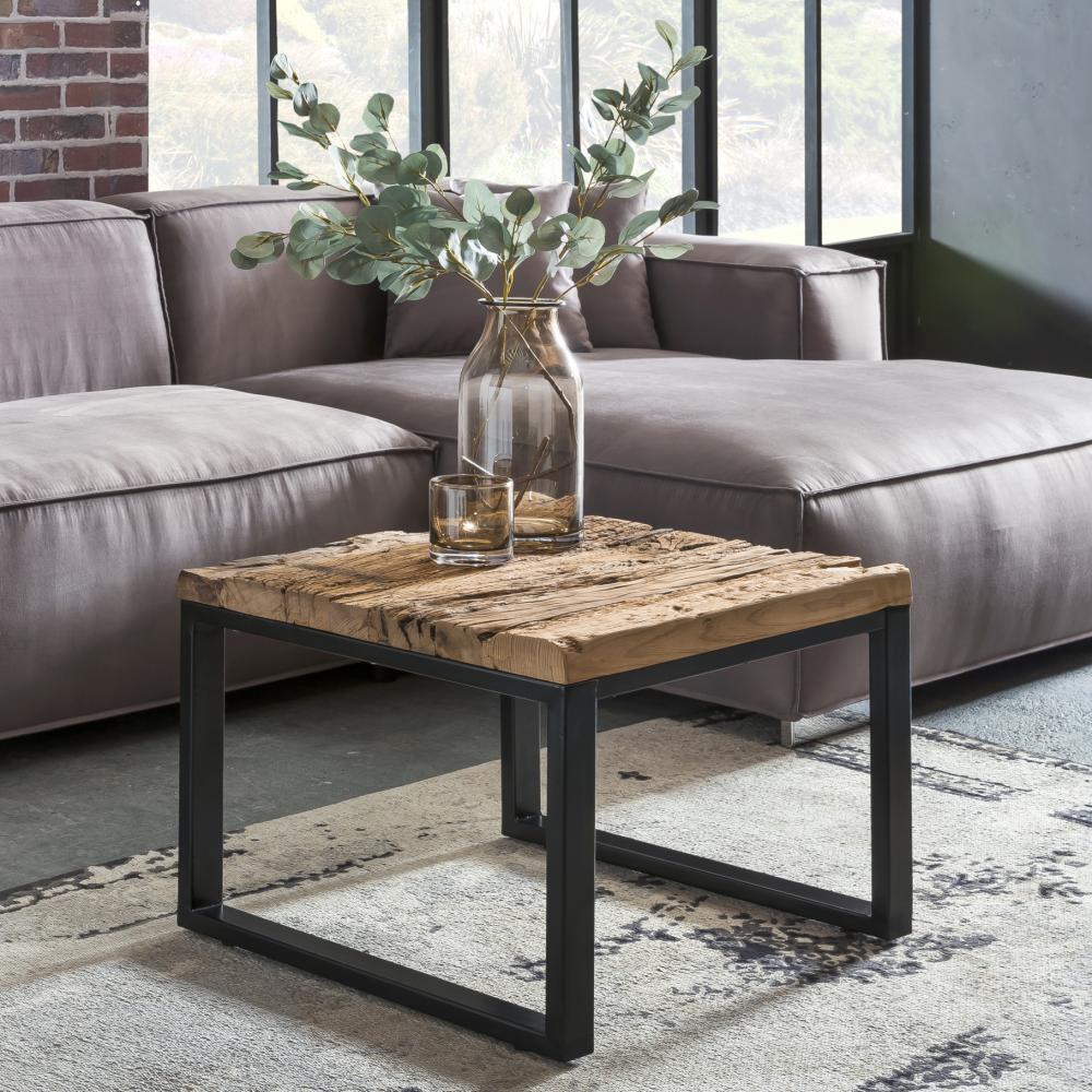 Design Couchtisch BELLARY 60x47x60 cm Massiv Holz Sofatisch mit Metallgestell Bild 1