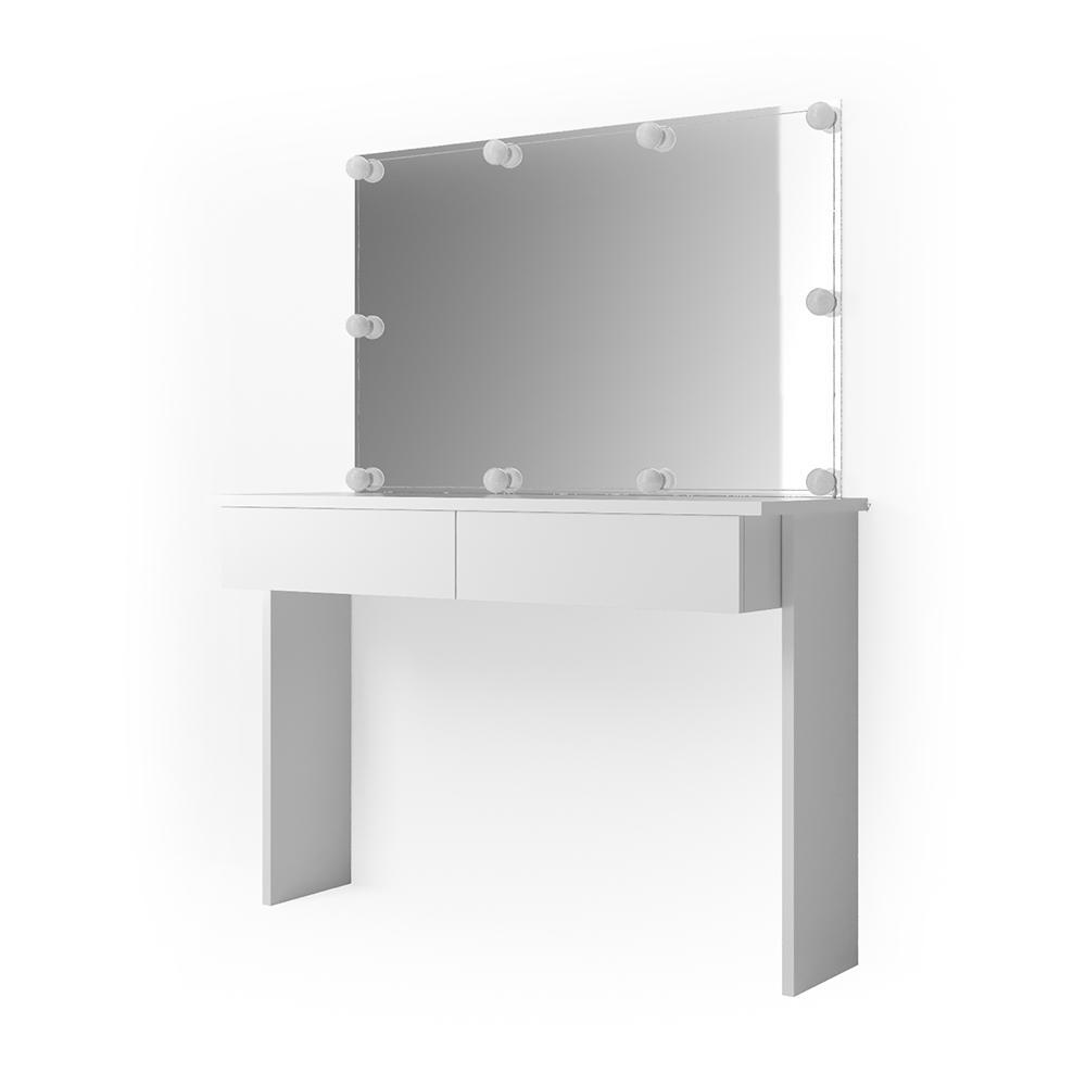 Vicco 'Azur' Schminktisch, Weiß Hochglanz, inkl. Spiegel und LED-Lichterkette Bild 1