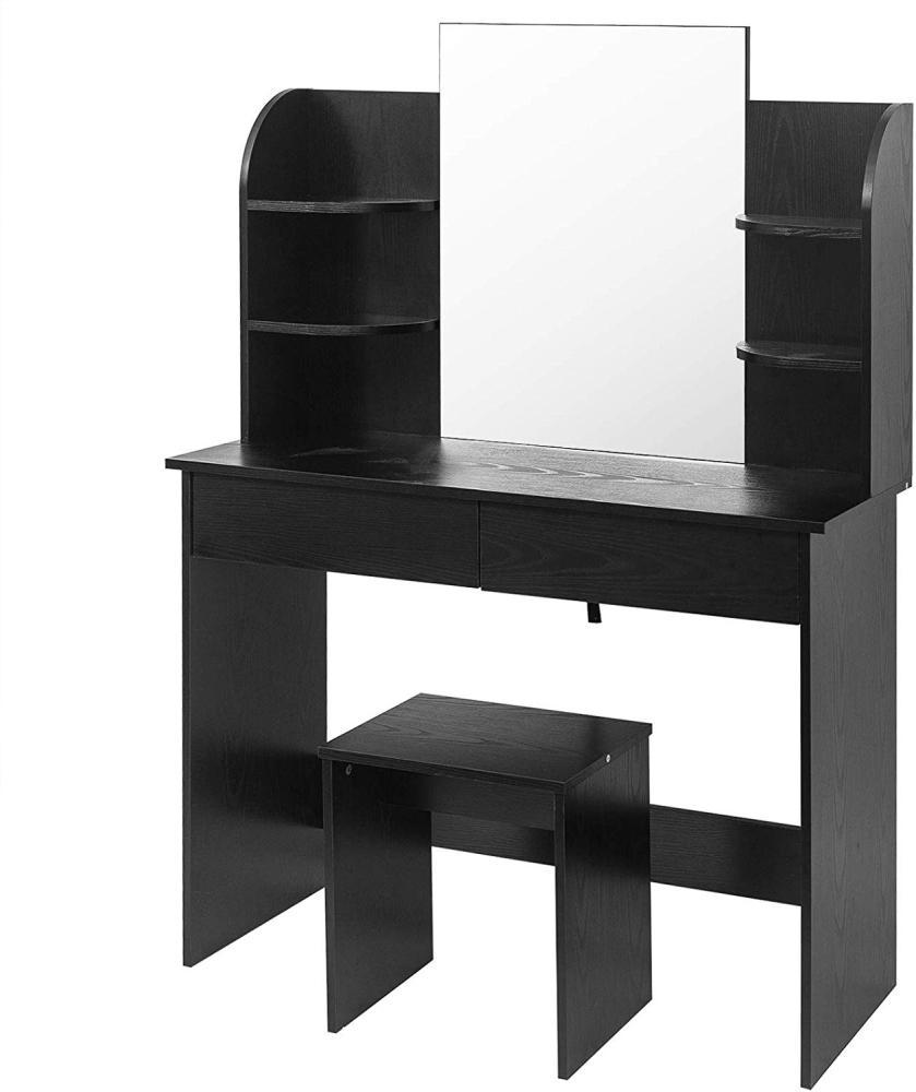 Woltu Schminktisch-Set schwarz hochglanz mit Hocker & Spiegel Bild 1