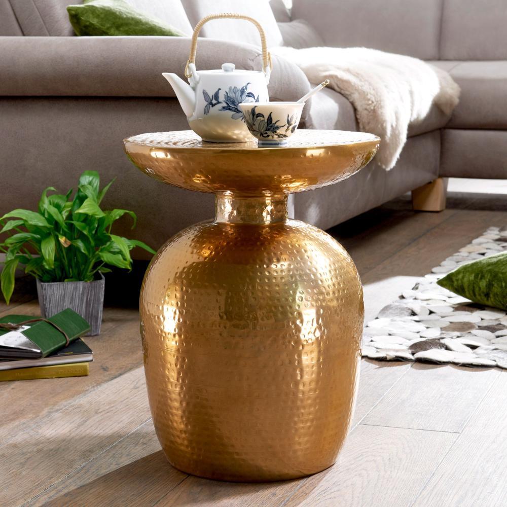 Design Beistelltisch DELIA 36,5 x 46 x 36,5 cm Aluminium Dekotisch orientalisch rund Bild 1