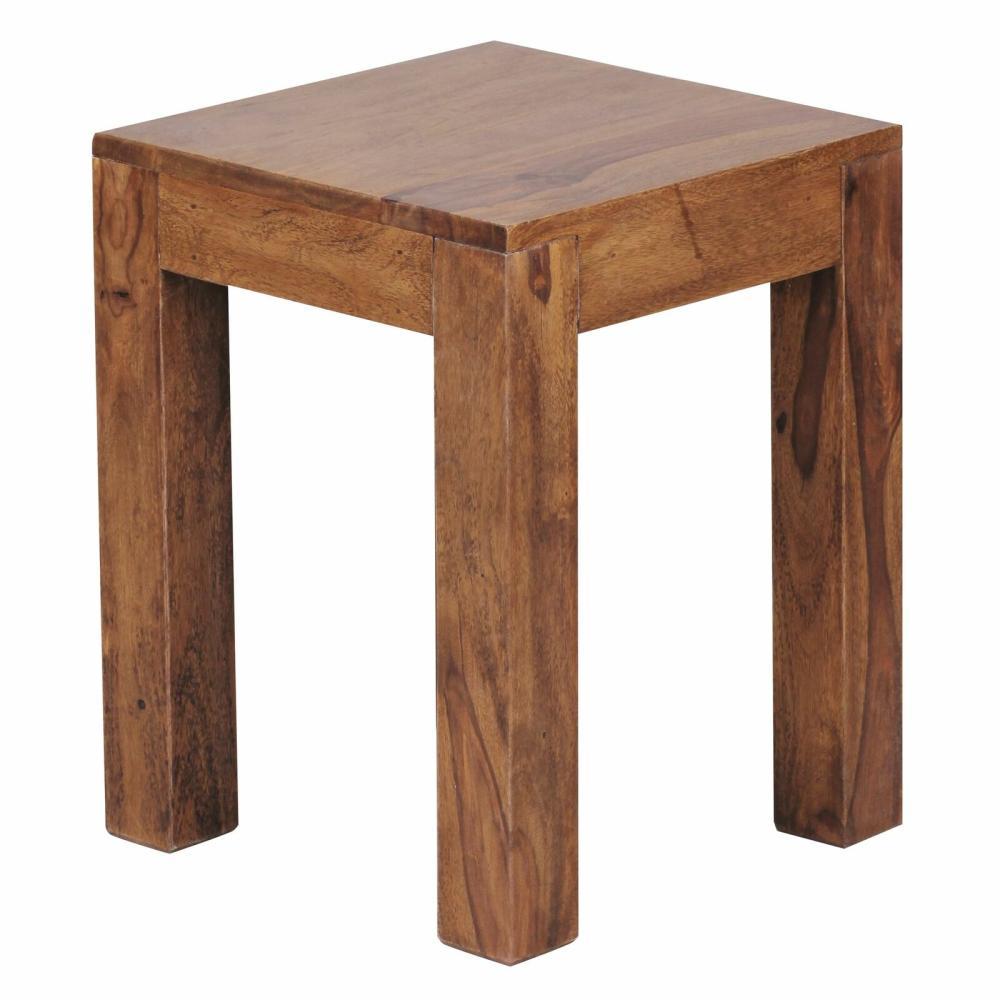 Beistelltisch Massiv-Holz 35 x 35 cm Wohnzimmer-Tisch Design braun Sheesham Bild 1