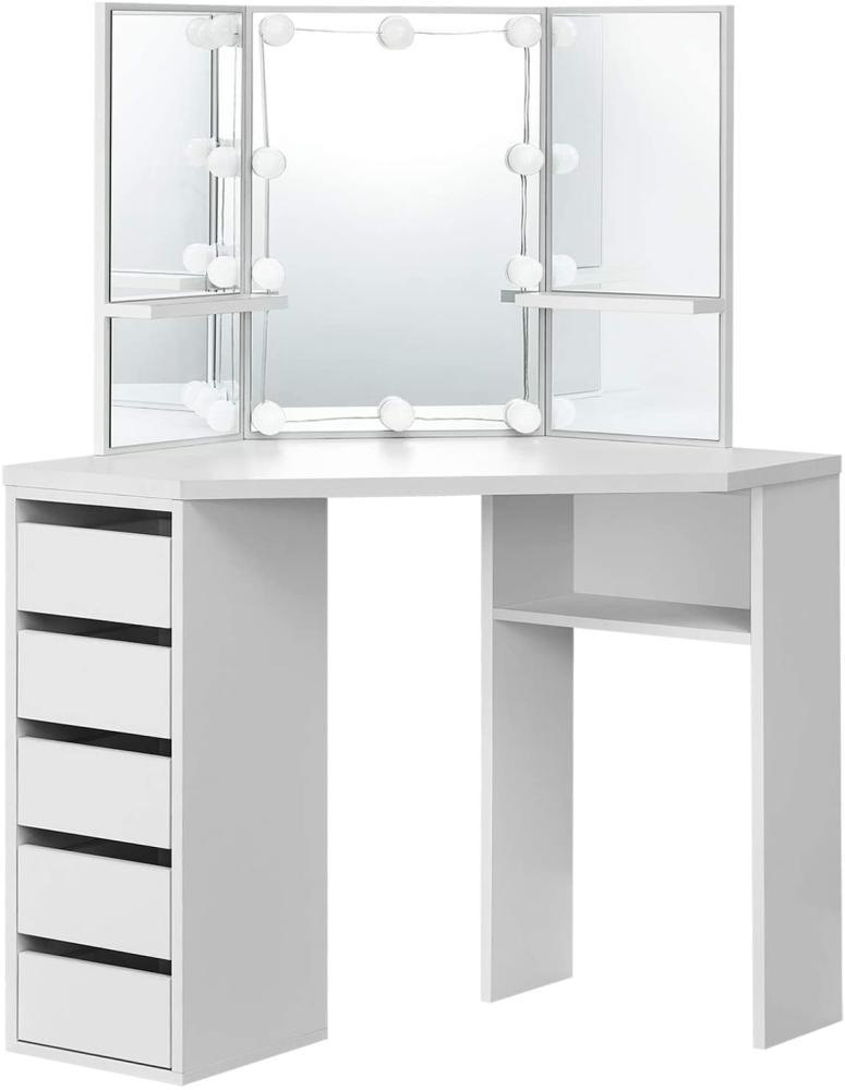 Juskys Eck-Schminktisch Nova – Kosmetiktisch 100 x 54 x 140 cm Weiß – Frisiertisch aus Holz mit Spiegel, LED-Beleuchtung, Schubladen & Ablagefächern Bild 1