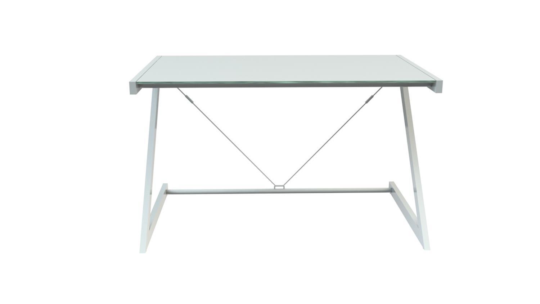 Schreibtisch 150 Z-Line Bürotisch weiß ESG Glas Optiwhite Bild 1