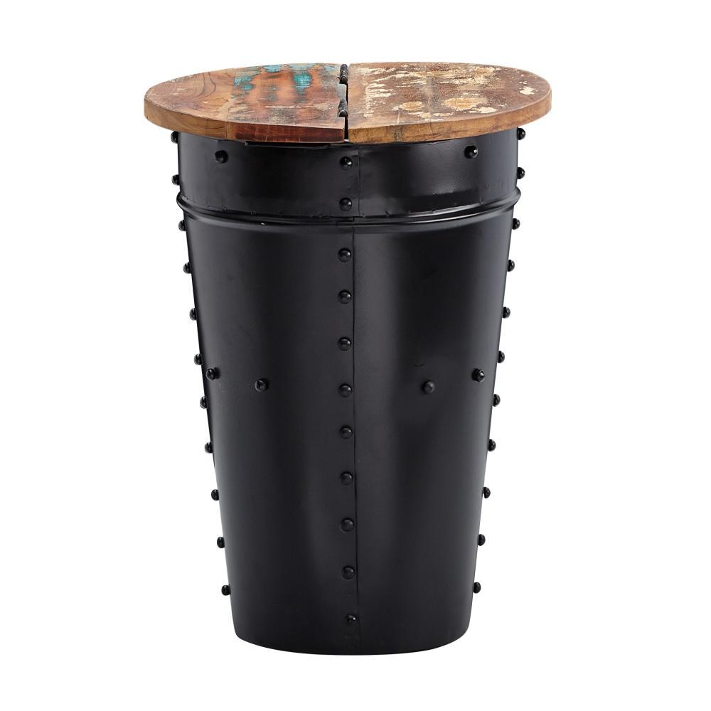 Beistelltisch, schwarz, Mango Massivholz/Metall, 36x50x36 cm, Industrial Style Bild 1