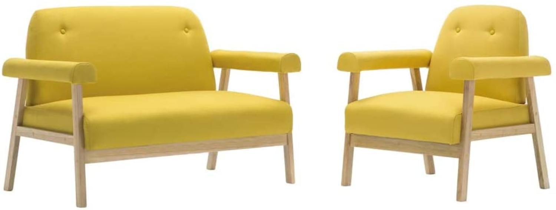 Sofagarnitur für 3 Personen 2-tlg. Stoff Gelb Bild 1