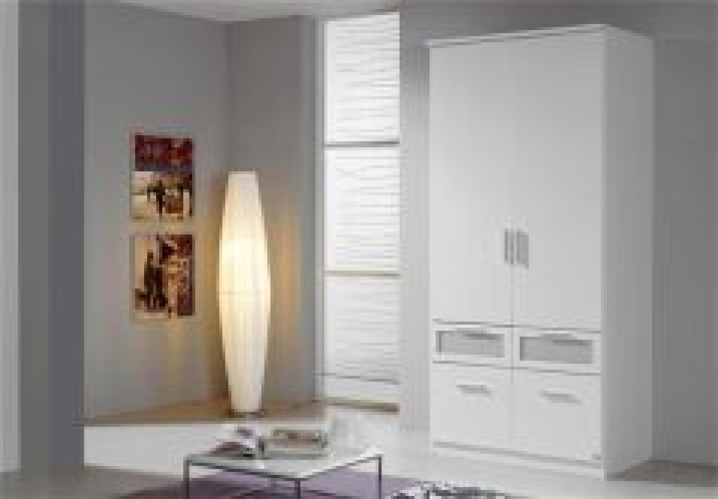 Kleiderschrank I BOCHUM Schrank in Weiß & Milchglas 91 cm Bild 1