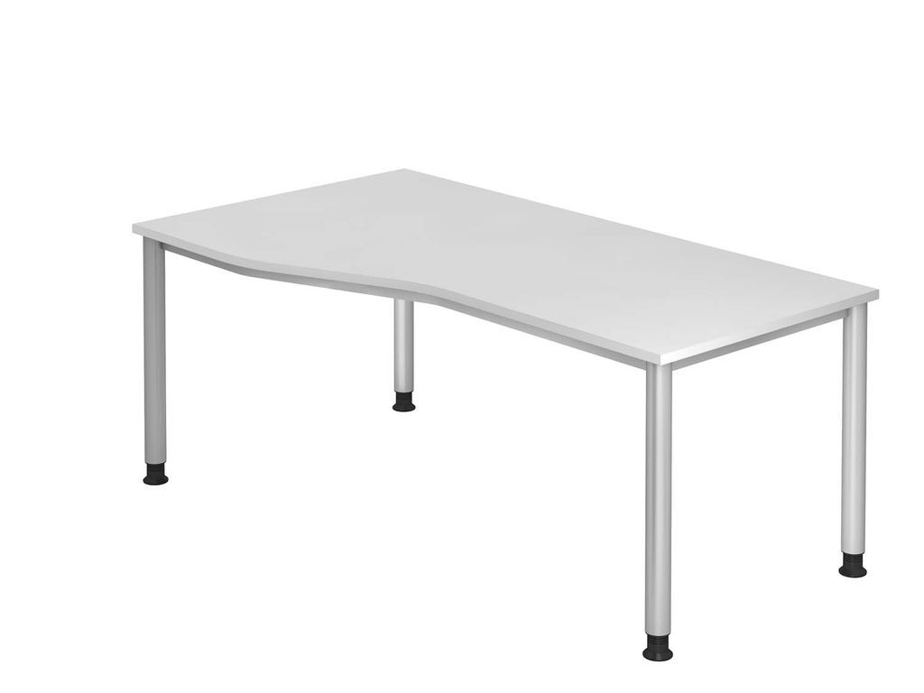 Schreibtisch HS18 4-Fuß rund 180x100 / 80cm Weiß Gestellfarbe: Silber Bild 1