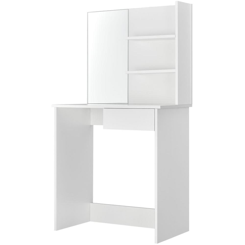 Juskys Schminktisch Jenna – eleganter Kosmetiktisch 75 x 40 x 135 cm in Weiß – moderner Frisiertisch aus Holz mit Spiegel, Schublade & 2 Ablagefächern Bild 1