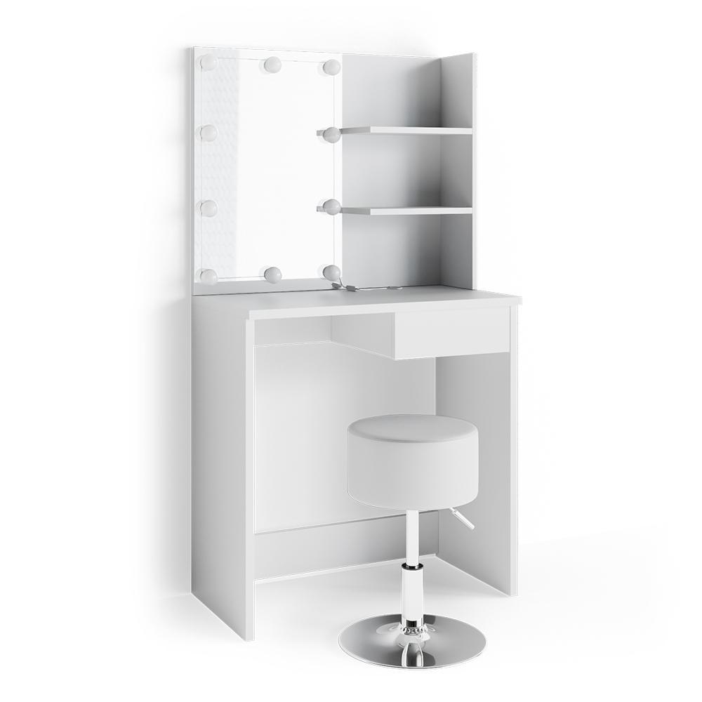 Vicco 'Dekos' Schminktisch, Weiß, inkl. Hocker und LED-Lichterkette, mit Spiegel Bild 1