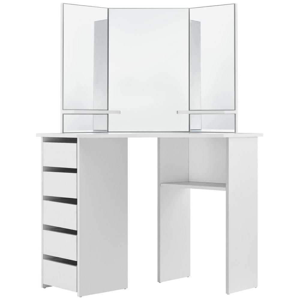 Juskys Eck-Schminktisch Nova – Kosmetiktisch 100 x 54 x 140 cm in Weiß – Frisiertisch aus MDF-Holz mit Spiegel, 5 Schubladen & 3 Ablagefächern Bild 1