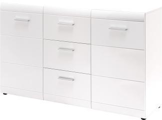 Sideboard 'GW-ADANA', mit 2 Türen und 2 Schubläden, Weiß Hochglanz, ca. 144x86x39cm