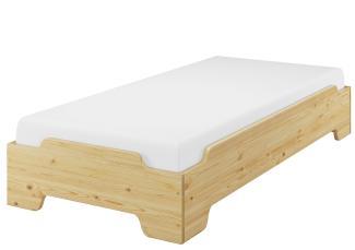 Erst-Holz Stapelbett, natur, 100x190 cm inkl. Rollrost und Matratze