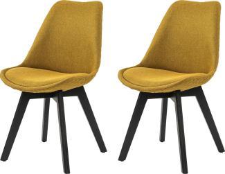 SalesFever 2er-Set Esszimmerstuhl mit Wabensteppung, Textil/Holz, L = 49 x B = 56,5 x H = 84 gelb