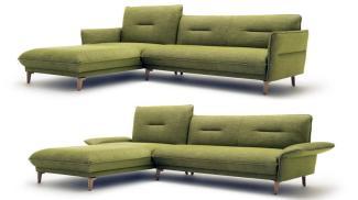 Hülsta Sofa von Rolf Benz Ecksofa 430 Stoff grün natur 293x182
