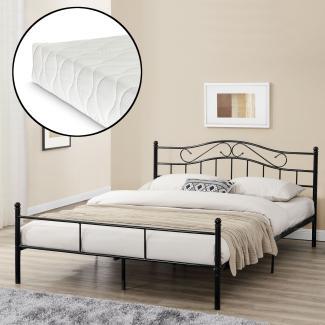 en.casa Metallbett, Doppelbett 200x200cm, Schwarz, mit Matratze und Lattenrost
